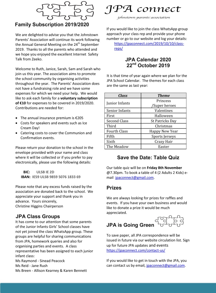 JPA Newsletter - Family Subscriptions