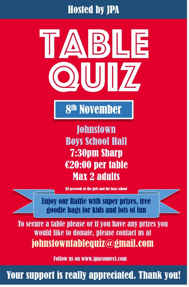Table Quiz - Sign up early to avaoid disappointment.